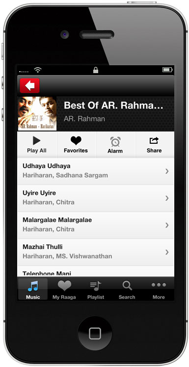 Mobile app for free Hindi, Tamil and Telugu songs