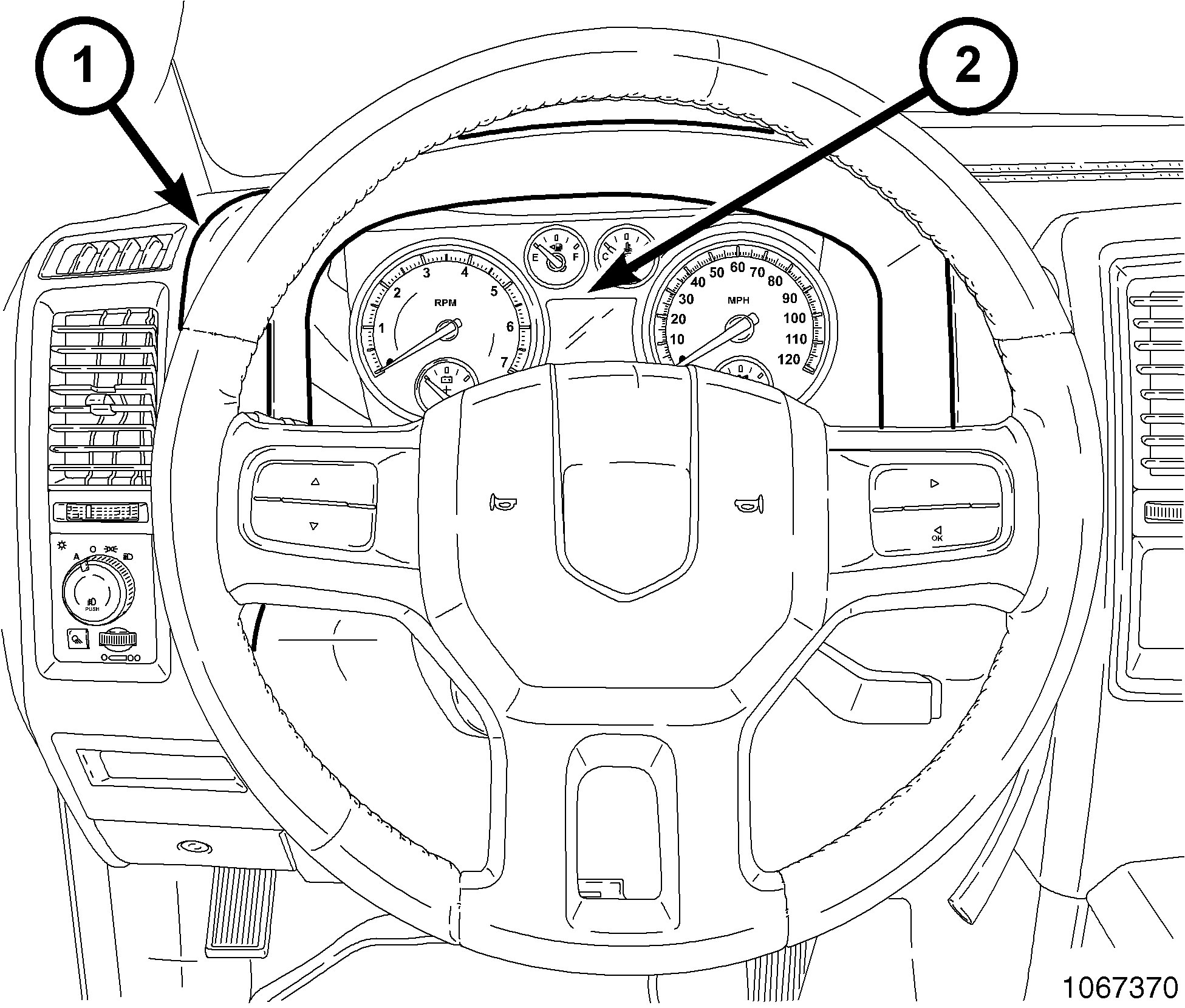 Steering wheel and instrument cluster
